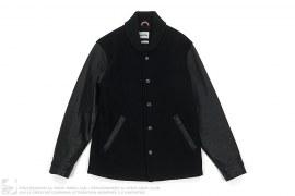 Leather Sleeve Wool Varsity Jacket by OriginalFake