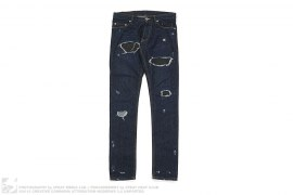 Indigo Distressed Leather Patch Skinny Fit Denim by Public School NY