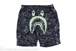 Space Camo GITD Shark Beach Shorts by A Bathing Ape