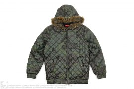 Camo Quilted Leather Fur Hood Jacket by Supreme
