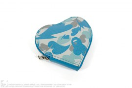Love Camo Leather Heart Coin Pouch by A Bathing Ape