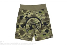 Gradient Camo Strike Logo Apehead Shark Sweatshorts by A Bathing Ape x Undefeated