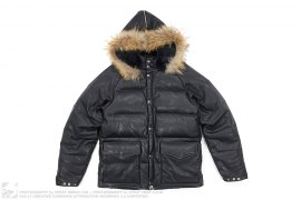 Fur Hood Cowhide Leather Down Jacket by A Bathing Ape