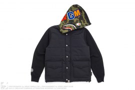 1st Camo Hood WGM Wappen Down Vest Hoodie Shark by A Bathing Ape