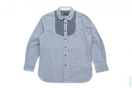 Gingham Chambray Long Sleeve Button Down Shirt by Evisu