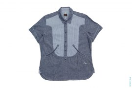 Chambray Short Sleeve Button Down Shirt by Evisu