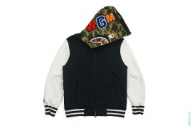 1st Camo Camo Hooded Shark Varsity Jacket by A Bathing Ape