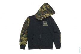 Half Woodland Camo Hood Shark Hoodie by A Bathing Ape x Undefeated