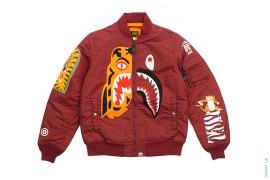 Half Shark Half Tiger Split MA1 Bomber Flight Jacket by A Bathing Ape x Undefeated