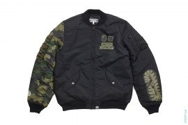 Woodland Camo Sleeve Capsule MA1 Bomber Flight Jacket by A Bathing Ape x Undefeated