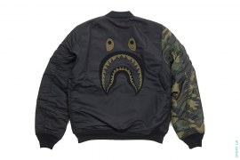 Woodland Camo Sleeve Capsule Shark MA1 Bomber Flight Jacket by A Bathing Ape x Undefeated