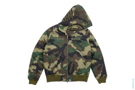 Woodland Camo Shark Down Jacket by A Bathing Ape x Undefeated