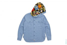 Oxford Hooded Shark Button Up Shirt by A Bathing Ape