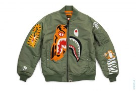 Half Shark Half Tiger Split MA1 Bomber Flight Jacket by A Bathing Ape