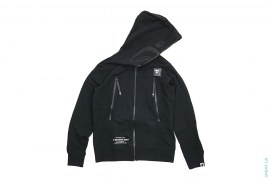 Double Knit Blackout Rubberized Army Shark Hoodie by A Bathing Ape
