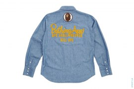 Chain Stitch Logo Chambray Button-Up Shirt by A Bathing Ape