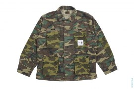 1st Camo Accent Jungle Long Sleeve Button-Up Ripstop Shirt by A Bathing Ape x Wtaps