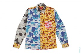 Crazy Camo Patchwork Long Sleeve Button-Up Shirt by A Bathing Ape