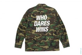 Who Dares Win Camo Long Sleeve Button-Up Shirt by Neighborhood