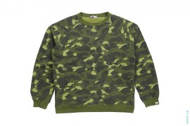 1st Release Color Camo Hard Vintage Wash Crewneck Sweatshirt by A Bathing Ape