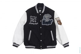 Mad Apehead Leather Sleeve Varsity Jacket by A Bathing Ape