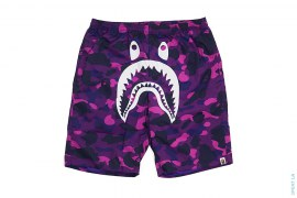 Color Camo White Face Shark Beach Shorts by A Bathing Ape