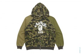 Crazy Kaws 1st Bendy Camo College Logo Full ZIp Hoodie by A Bathing Ape x Kaws