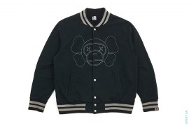 Milo X-Eyes Companion Embroidered Cotton Varsity Jacket by A Bathing Ape x Kaws