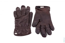 Silver Metal Logo Premium Leather Gloves by Hugo Boss