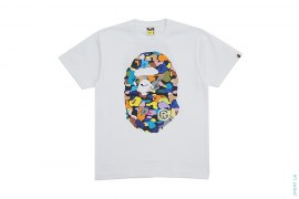 Multi Camo Coming & Going Straight Through Apehead Tee by A Bathing Ape