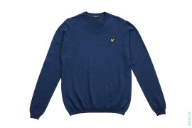 Merino Wool V-neck Sweater With Patched Logo by Lyle & Scott