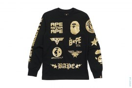 Bape Logo Collage Long Sleeve Tee by A Bathing Ape x Dover Street Market