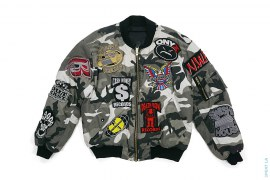 Hip-Hop Patches Sample Embroidered Snow Camo Bomber Jacket by Dbruze