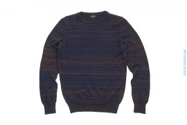 Gold Striped Marino Wool Crewneck Sweater by APC