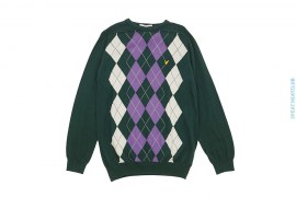 Cotton Light Weight Crewneck Checker Pattern With Patch Logo by Lyle & Scott