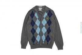 Cotton Lightweight Cardigan Checkered With Patch Logo by Lyle & Scott