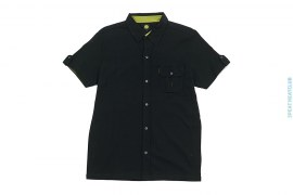 Cotton Button-up Short Sleeve Polo With Chest Pocket by Pretty Green