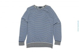 Cotton Light Weight Striped Crewneck Sweater Grey Trim by John Smedley
