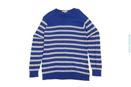 Cotton Light Weight Striped Crewneck Sweater by John Smedley