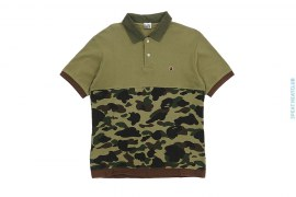 Half 1st Camo Pique Polo Shirt by A Bathing Ape
