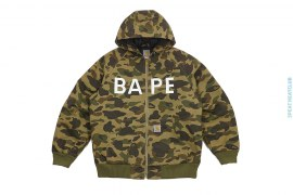 1st Camo BAPE Logo Canvas Hooded Insulated Jacket by A Bathing Ape x Carhartt