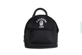 Mini College Logo Premium Leather Shoulder Bag by A Bathing Ape