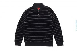 Striped Border Velour Long Sleeve Polo Shirt by Supreme