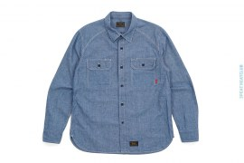 Cell Chambray Long Sleeve Button-Up Shirt by Wtaps