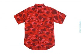 Color Camo Flannel Short Sleeve Button-Up Shirt by A Bathing Ape
