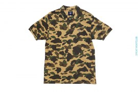 1st Camo Camo Apehead Camo Ribbing Pique Polo Shirt by A Bathing Ape