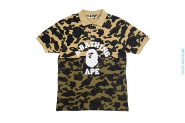1st Camo College Logo Split Pique Polo Shirt by A Bathing Ape