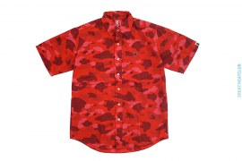 Color Camo Aloha Short Sleeve Button-Up Shirt by A Bathing Ape