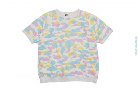 Cotton Candy Mutli Camo Short Sleeve Crewneck Sweatshirt by A Bathing Ape