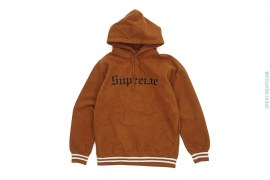 Reverse Fleece Embroidered Logo Border Pullover Hoodie by Supreme